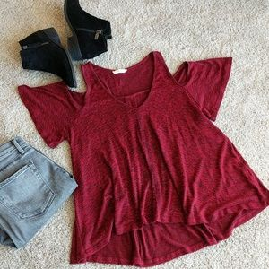 Lush Red Cold Shoulder Top